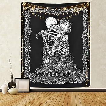 Tapiz de Calavera Los Amantes de los Besos Tapiz Colgante de Pared En Blanco y Negro Tapiz de Esquel eto Humano con Corona de decoración para el hogar