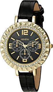 Geneva Women's FMDJT104C Analog Display Japanese Quartz Black Watch