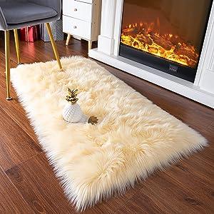 YJ.GWL Luxury Faux Sheepskin Fur Area Rug Soft Fluffy Rugs, Shag Plush Carpet Faux Fur Rug for Bedroom Floor Sofa Living Room, 2.3 x 5 Feet Rectangle Pale Yellow