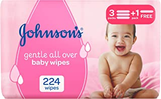 JOHNSON'S Baby, Wipes, Gentle All Over, 3+1, Pack of 224 wipes