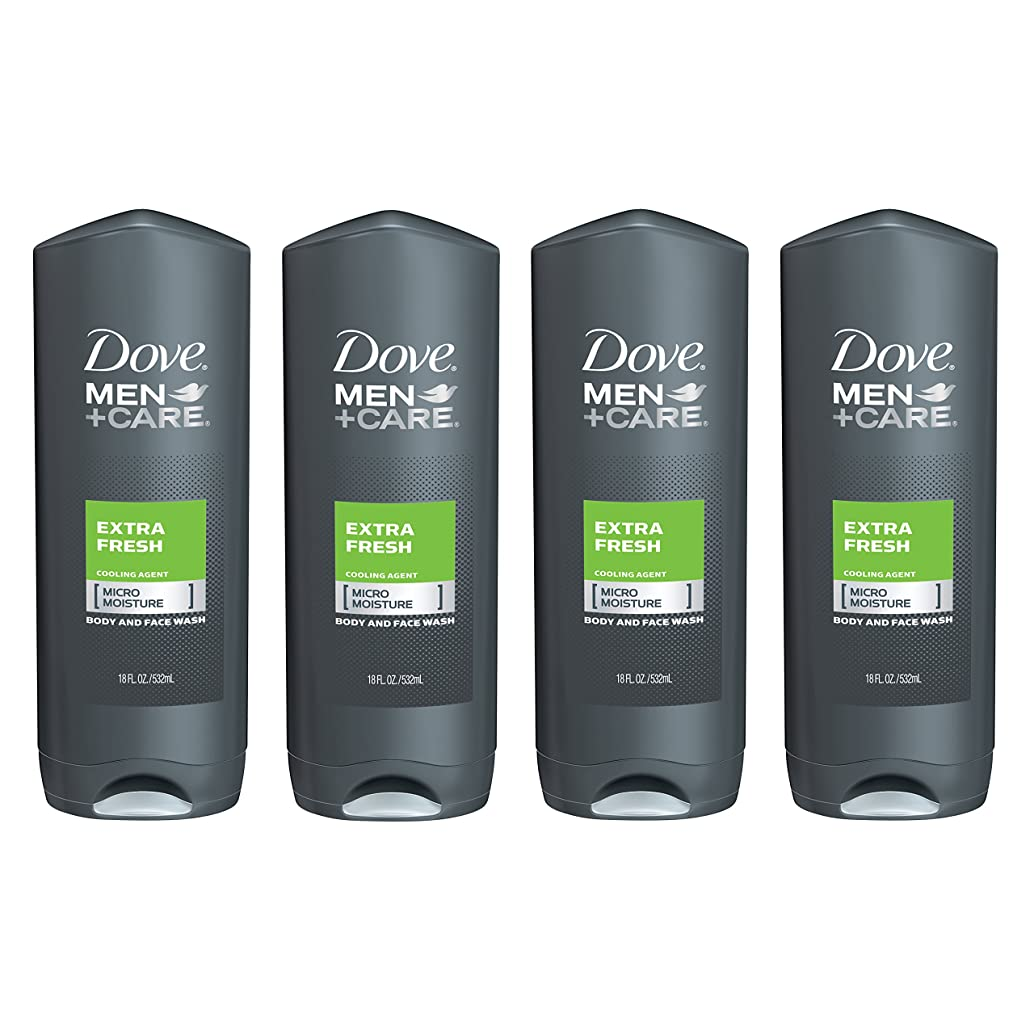 Dove Men+Care Body and Face Wash, Extra Fresh 18 oz, 4 Count