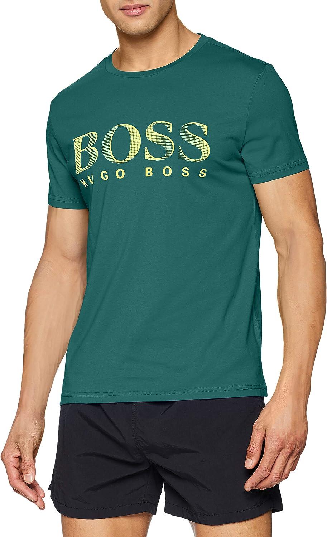 T-Shirt Man Green Logo Yellow UV Protection 50407774304 Hugo Boss