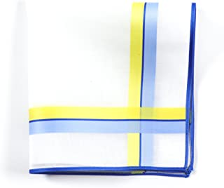 Lehner Switzerland Women's White Cotton Handkerchief with Blue/Yellow Satin Band Stripes