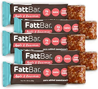 FattBar Keto Bar (Apple & Cinnamon, 5-Pack) | Natural and Delicious Keto Snacks | Low Net Carb, High Fiber, Low Sugar, Ket...