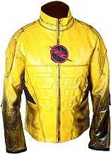 F&H Kid's Reverse Flash Eobard Thawne Zoom Yellow Lightning Leather Jacket