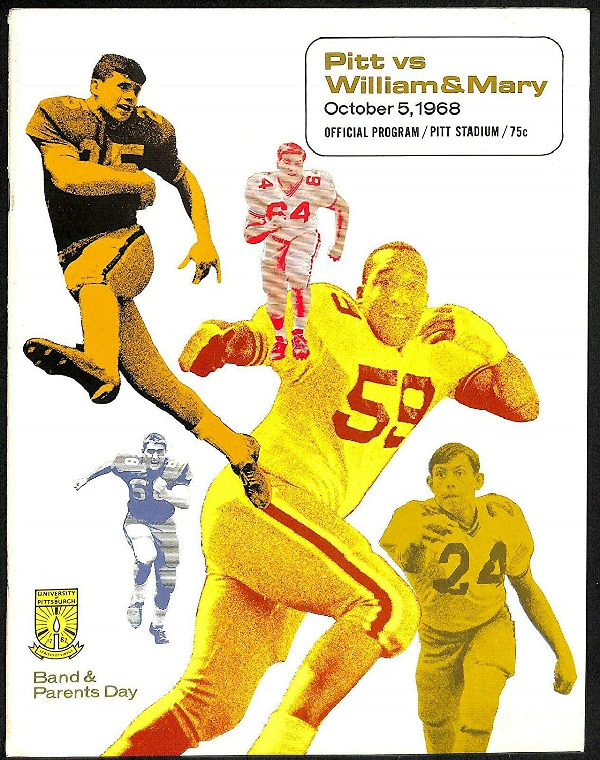 1968 High order Pitt Panthers v William Mary Football 10 NEW before selling ☆ Program Ex MT 5