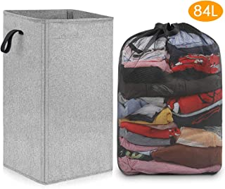 SNIGJAT Large Laundry Hamper with Removable Liner (84L), Sturdy Dorm Laundry Basket with Handles, Tall Dirty Cloth Hamper for Bedroom, Bathroom, Closet, Collapsible Laundry Storage Bin for Kids Toys