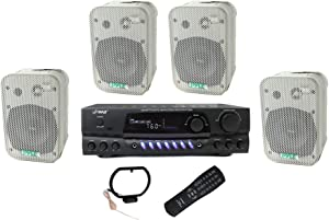 Pyle PDWR40W 5.25 inch White Indoor/Outdoor Waterproof Speakers (4 Pack) and PT260A 200 Watt Digital AM/FM Stereo Home Theater Receiver