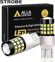 Alla Lighting T20 Wedge 7440 7443 Strobe Reverse Light LED Bulbs Super Bright 2835 39-SMD 7440KX W21W 7440LL LED Flashing Back Up Light Bulbs for Cars, Trucks, 6000K Xenon White