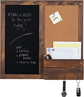 MyGift Rustic Wall-Mounted Chalkboard with Cork Board, Mail Sorter, Key Hooks