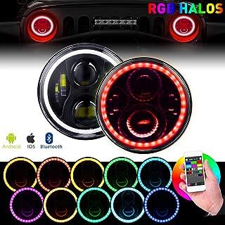 BEEYEO 7 Inch Round LED Headlight,RGB Halo Angel Eyes DOT Approved Halo Headlights for Wrangler JK TJ LJ CJ Sahara Sport Rubicon Headlamp 1997~2017 (2Pack RGB Headlights)