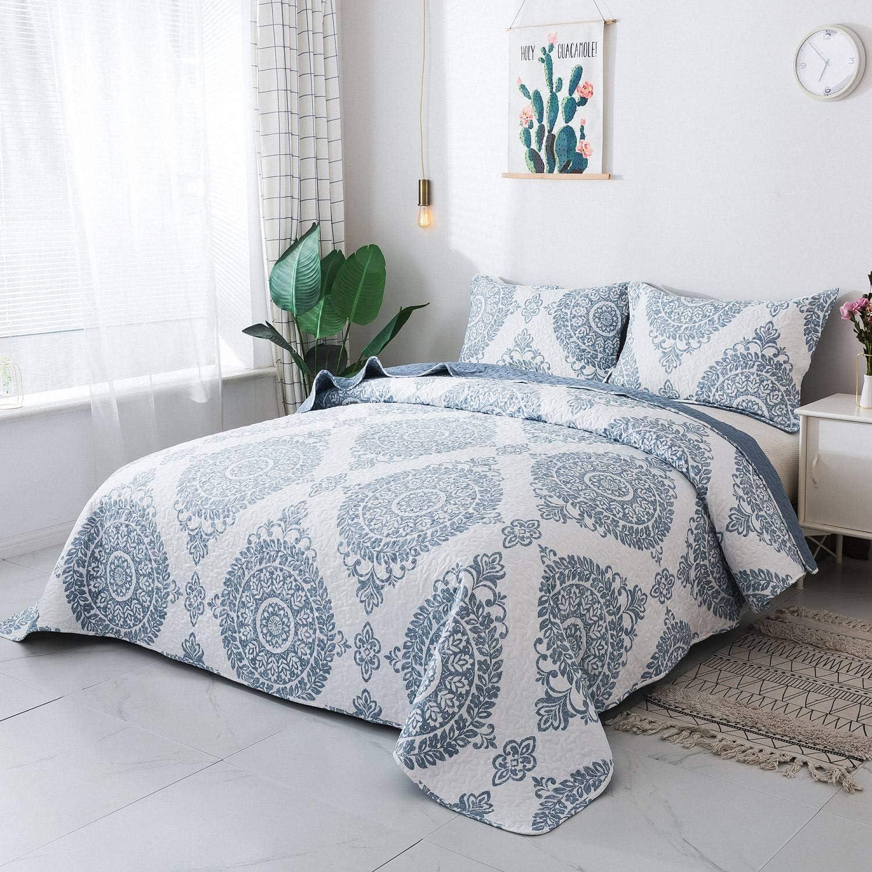 HoneiLife Quilt Set King Size - 3 Piece Microfiber Quilts Reversible Bedspreads Patchwork Coverlets Floral Bedding Set All Season Quilts- Blue Ink