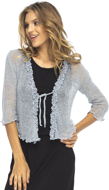 Back From Bali Womens Sheer Shrug Cardigan Sweater Ruffle Lightweight Knit