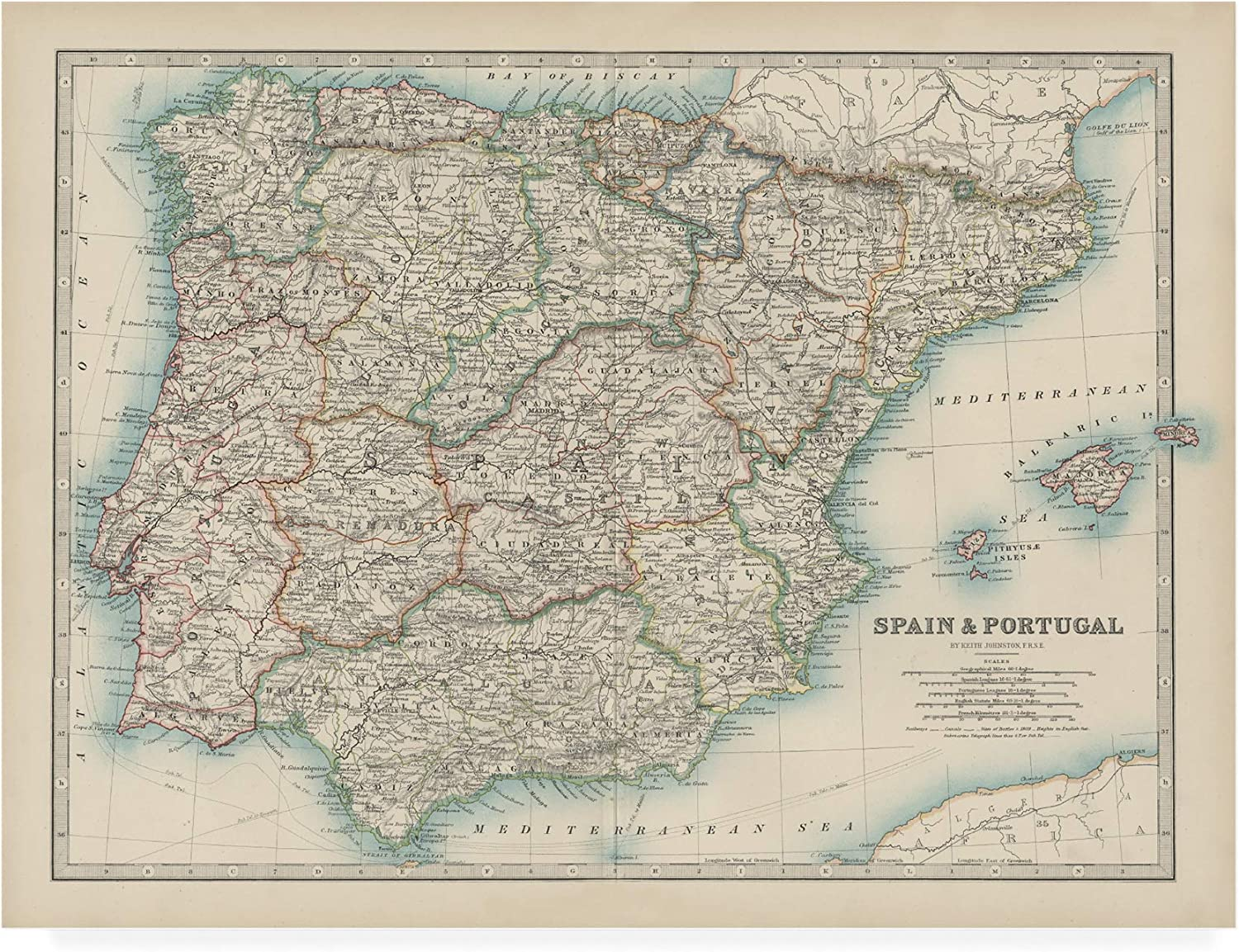Trademark Fine Art Map of Spain and Portugal by Johnston, 14x19