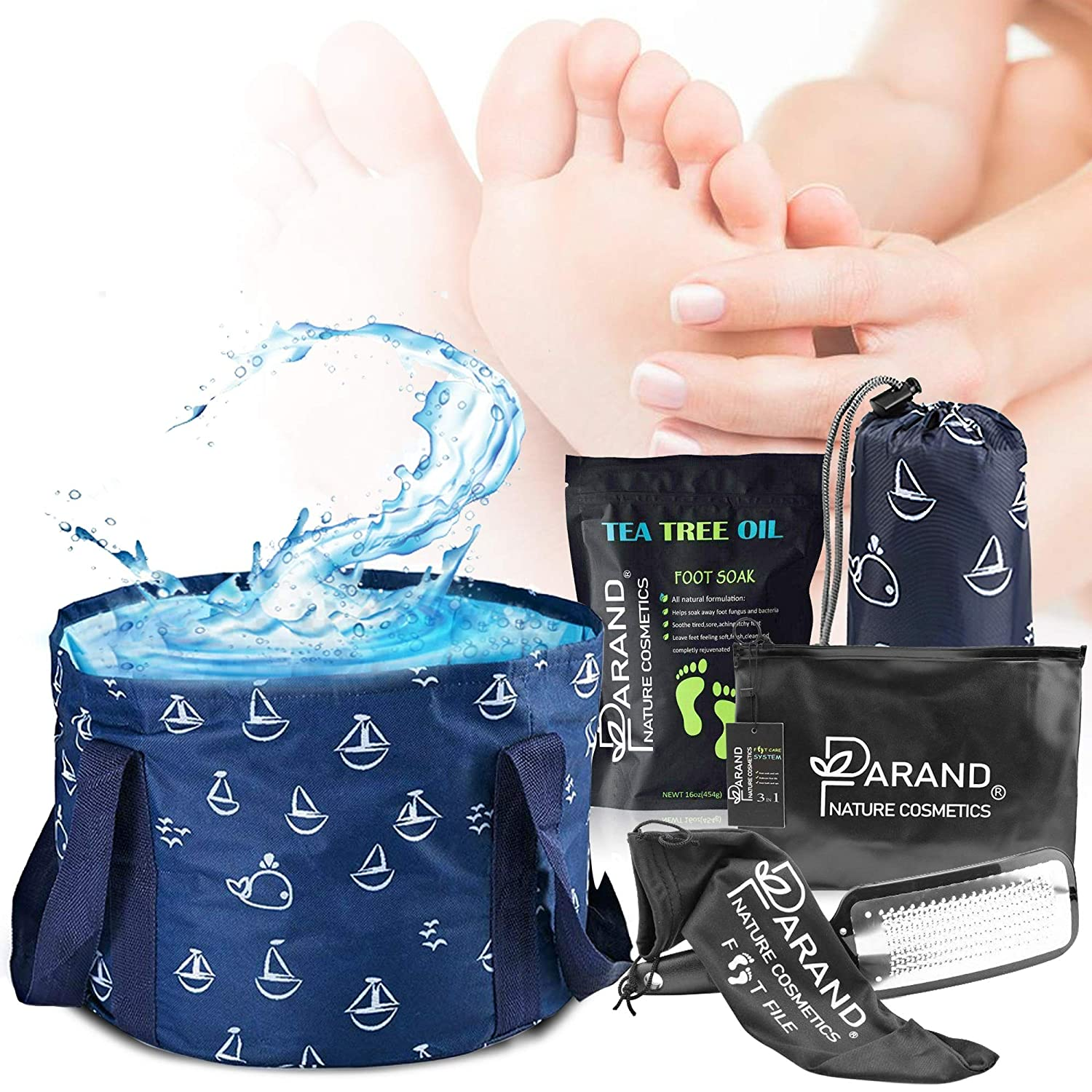 FOOT SPA KIT with Tea Tree Oils and Epsom Salts Soak, Steel File Callus Remover and Portable Tub for Soaking Feet, Soften Dry Cracked Heels, Therapeutic Skincare