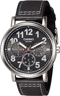 ساعة كاسيو للرجال MTP-E309L-1AV - متعددة الوظائف بسوار من الجلد - مينا سوداء