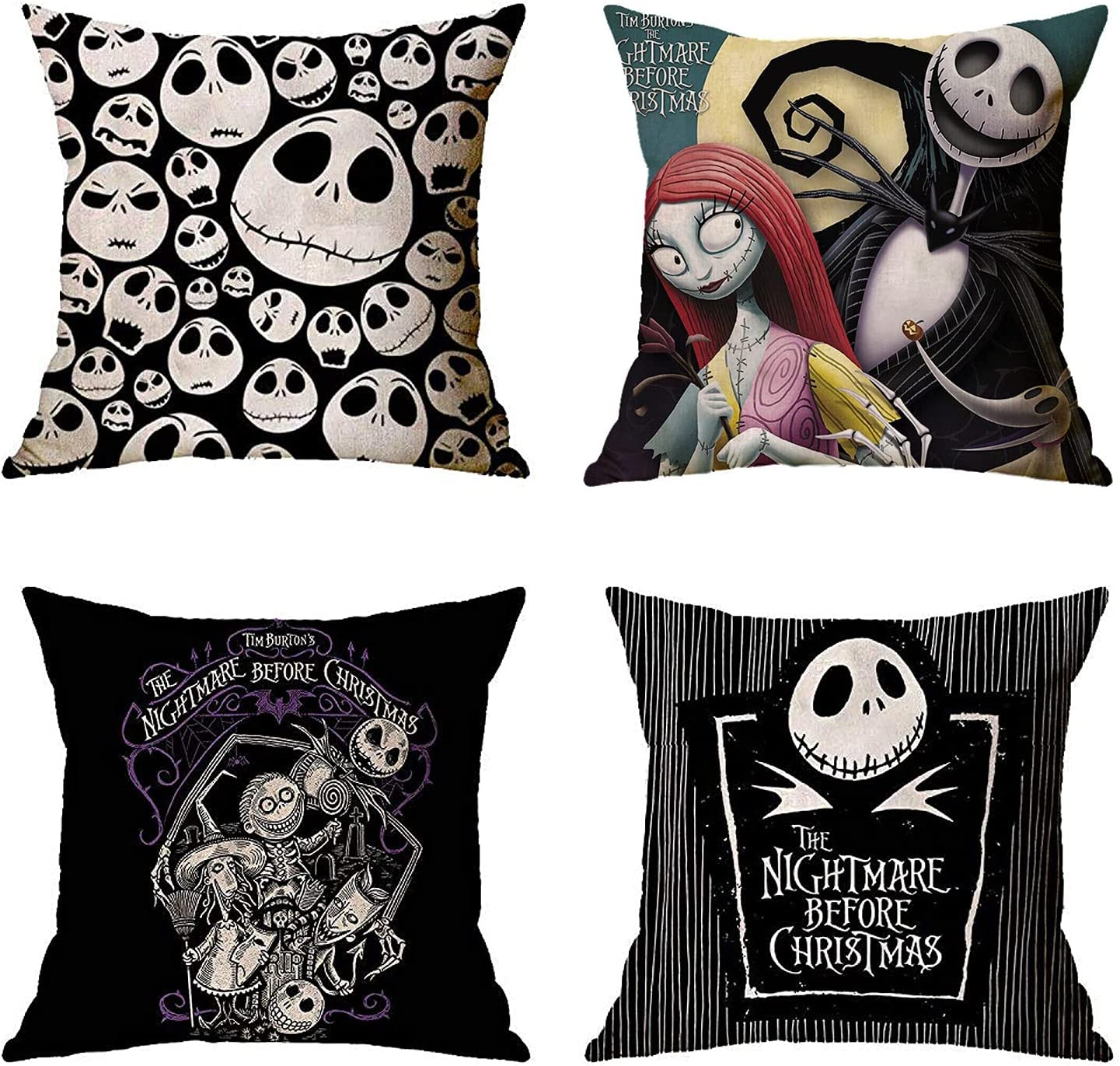 Youni 4 Pack Happy Halloween Christmas Night Jack Throw Pillow Case Cotton Linen Cushion Cover Room Decor 18inch