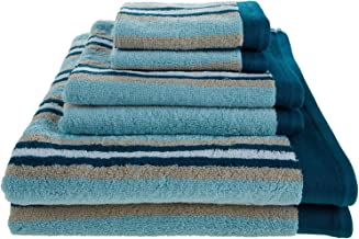 Superior Collection Luxurious Stripes 100% Premium Combed Cotton 2-Piece Bath Towel Set, Seafoam