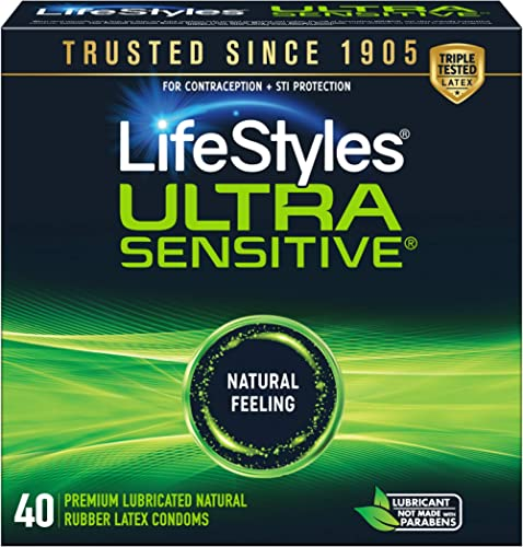 LifeStyles Ultra Sensitive Natural Feeling Lubricated Latex Condoms, Black, 40 Count (1746)