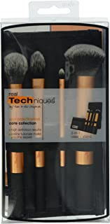 Real Techniques Core Collection Hand Cut Hair Design Makeup Brush Set, Includes: Detailer, Pointed Foundation, Buffing and Contour Brushes, with Brush Case/Stand