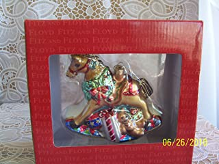 Fitz and Floyd Rocking Horse Glass Ornament