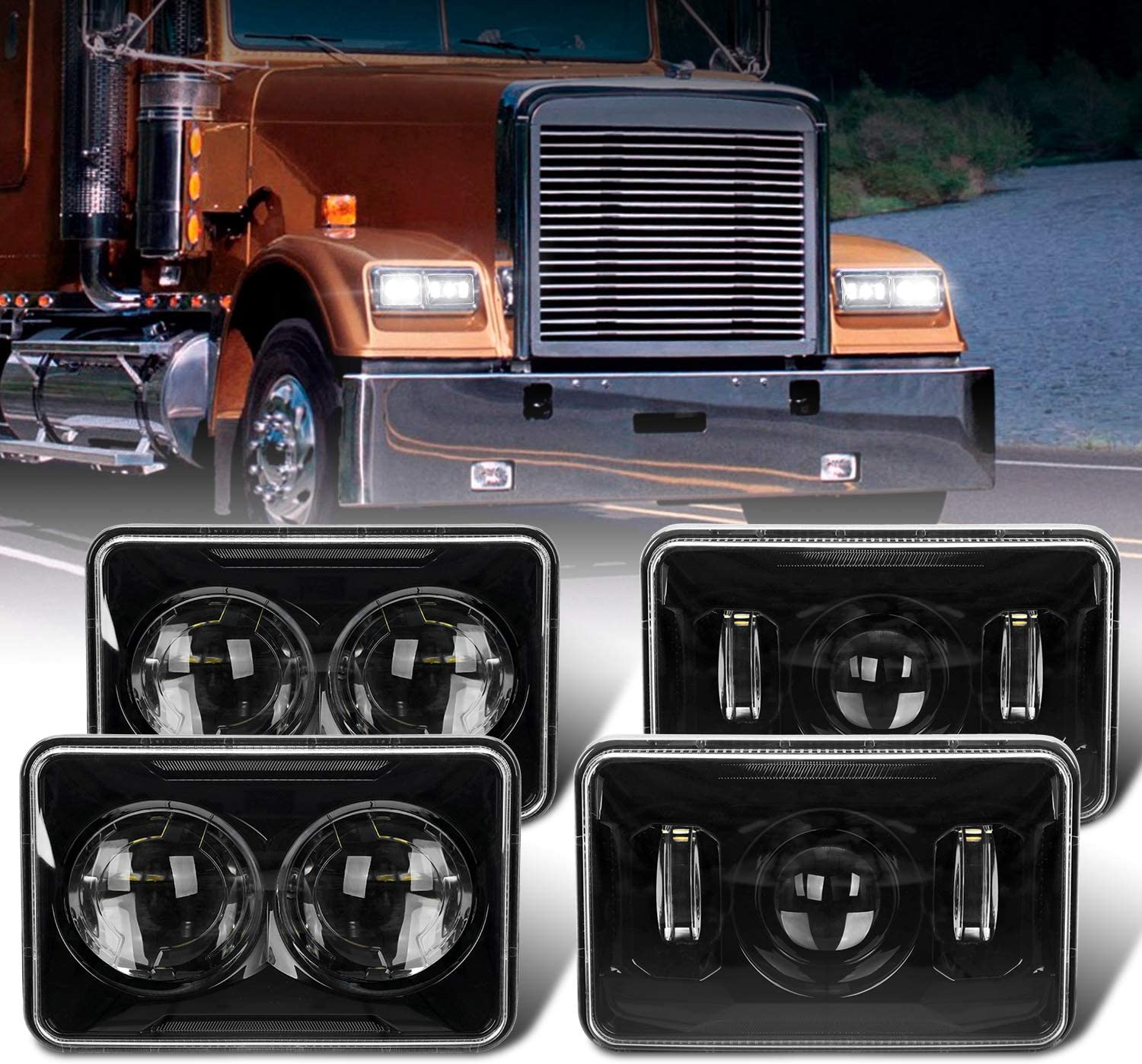 Black, 4X6 Inch 4PCS DOT Approved 60w Rectangular 4x6 inch LED Headlights H4651 H4652 H4656 H4666 H6545 Headlamps Compatible with Freightliner Peterbilt Kenworth Oldsmobile Cutlass Trucks