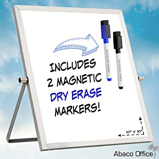 Small Dry Erase White Board by Abaco Office | Includes 2 Free Markers with Magnetic Eraser Cap | Mini WhiteBoard Easel, Dual Sided | Office, Home, School, Small Business (10x10 Inch)