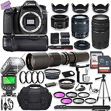 Canon EOS 80D DSLR Camera w/ 18-55mm Lens Bundle + Canon 75-300mm III Lens, Canon 50mm f/1.8 & 500mm Preset Lens + Battery...