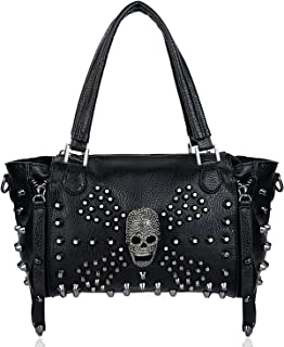 UTO Womens PU Leather Skull Handbags Totes Satchel Shoulder Bag Rivet Studded Personality Design with Removable Shoulder Strap Punk Style Large Capacity Black