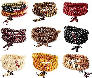 CASSIECA 108 Perline di Legno di Mala Bracciale/Collana Catena Rosario Perline Multicolori Buddista Tibetano Buddha Mala C...