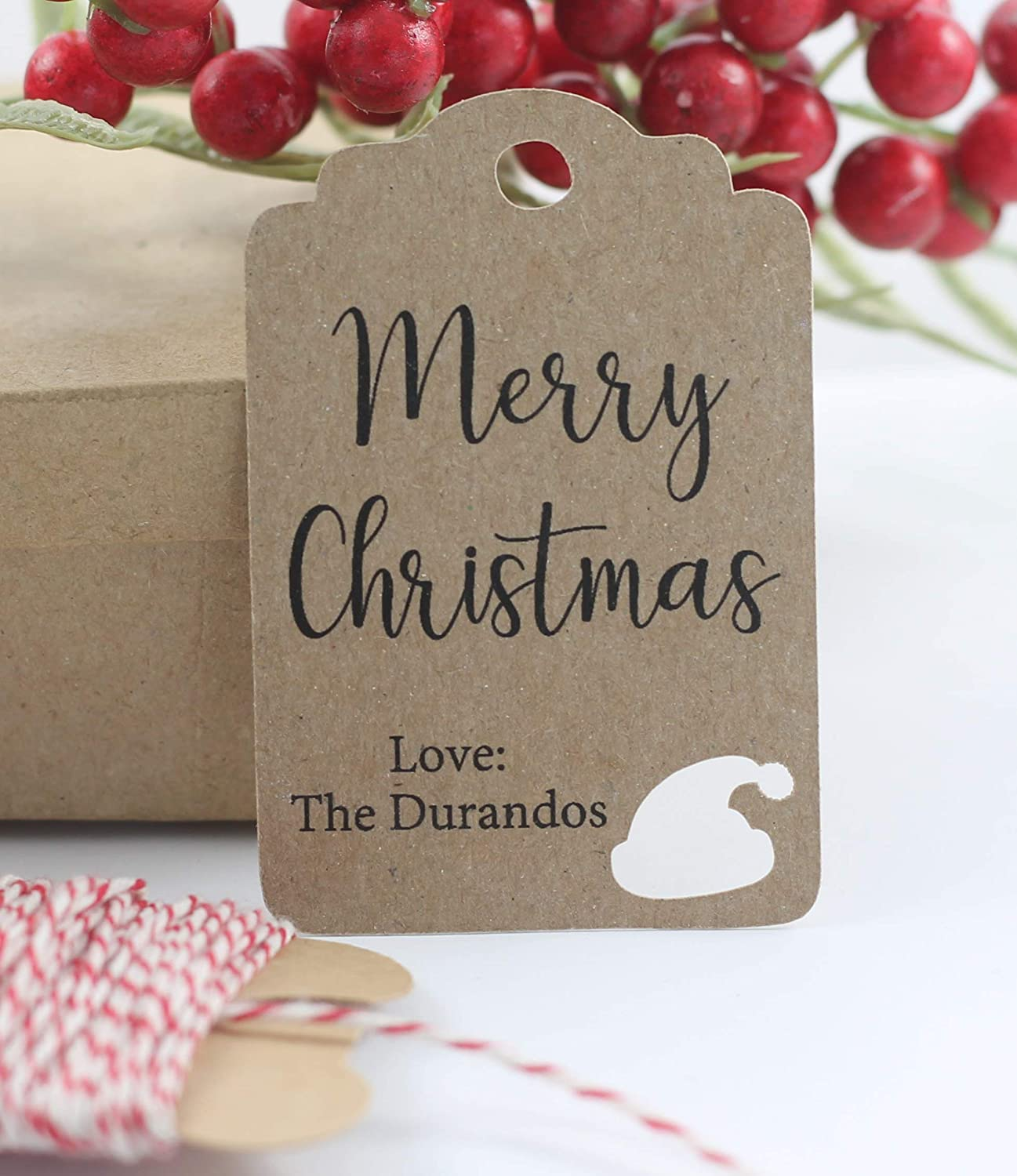 Personalized Happy Holiday Max 84% OFF Gift Tags Hat 12pc with Indefinitely - Santa