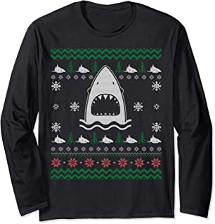 Funny Merry Sharkmas Shark Ugly Christmas Costume Gift Long Sleeve T-Shirt