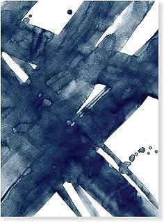 Laminas Decorativas | Modelo Acuarela | Pinceladas Azul Oscuro | Marco Blanco | con Passepartout Blanco | Decoración Hogar | Laminas Decorativas para Enmarcar | Laminas para Cuadros | 30x40cm