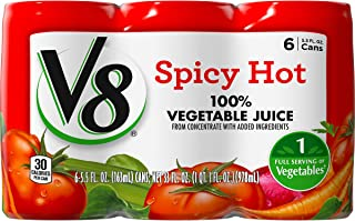 V8 Spicy Hot 100% Vegetable Juice, 5.5oz. Can (8 Packs of 6, Total of 48)
