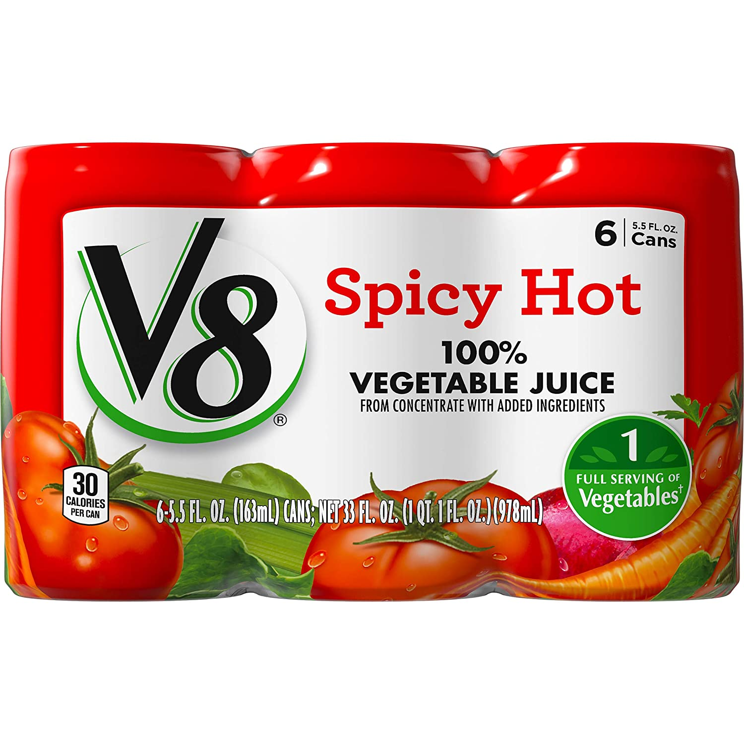 V8 Spicy Hot Nashville-Davidson Mall 100% Vegetable Juice 5.5 Pack oz. Can 6 of Count 2021 autumn and winter new
