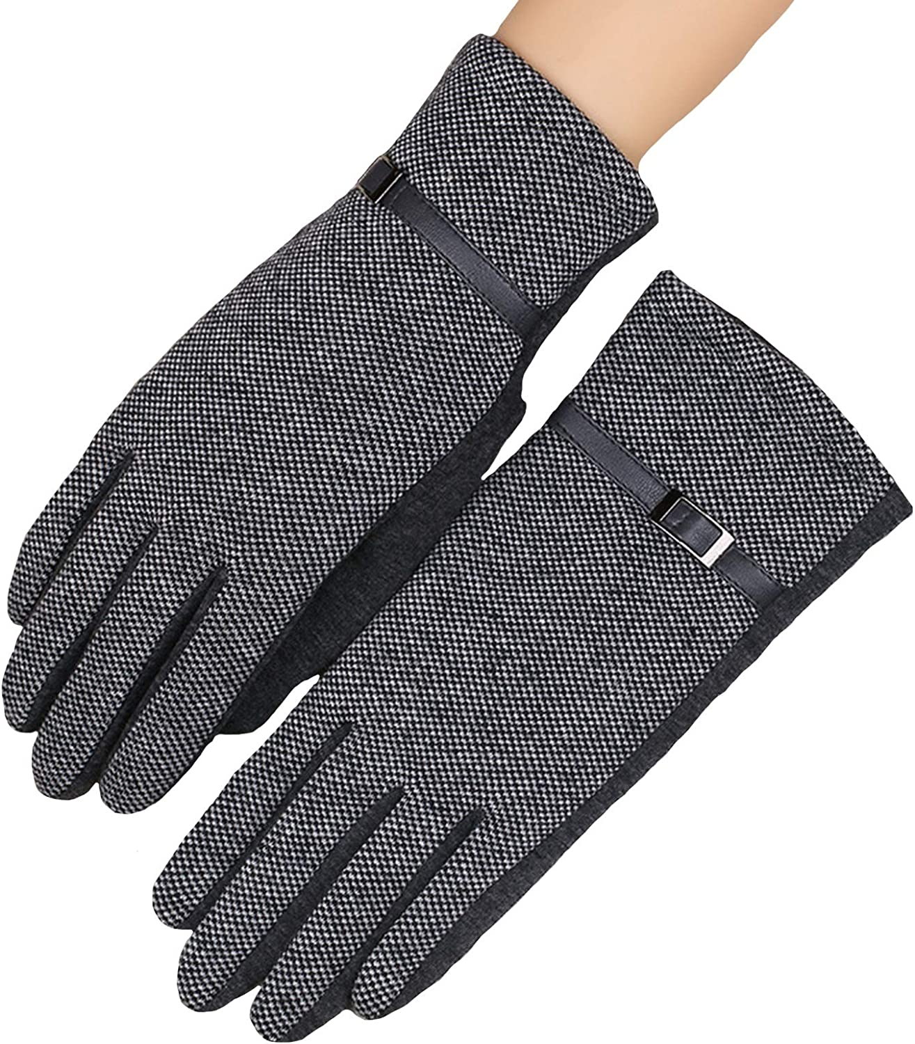 ZHANGYAN Gloves Winter Ladies Fashion Gloves, Lattice Warm, Thin Fleece Gloves, Student Touch Screen Leopard Gloves (Color : Color 2)