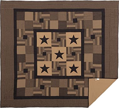 VHC Brands Check Star King Quilt 105Wx95L Country Rustic Primitive Design, Black and Tan
