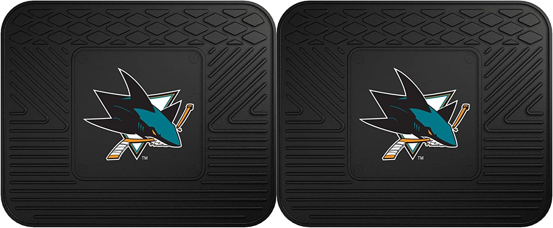 (Rear (Pack of 2), Black) - Fanmats 12423 NHL San Jose Sharks Rear Second Row Vinyl Heavy Duty Utility Mat, (Pack of 2)