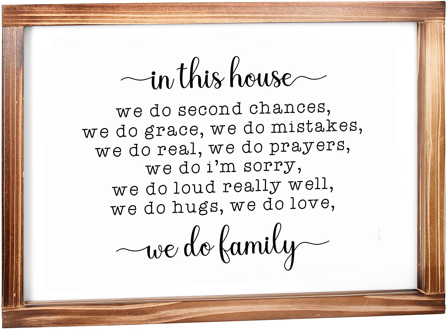 In This House We Do Family Sign - Family Signs for Home Decor, Rustic Farmhouse Decor for the Home Sign -Wall Decorations for Living Room, Modern Farmhouse Sign with Solid Wood Frame -11 x 16 Inches