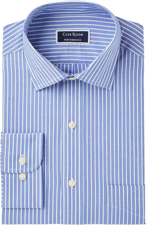 Club Room Performance Mens Dress Shirt Striped Slim Fit Blue 17 1/2