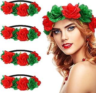 WILLBOND 4 Pieces Christmas Rose Flower Crown Headbands Red and Green Festival Hair Wreath Headbands Artificial Flower Hea...