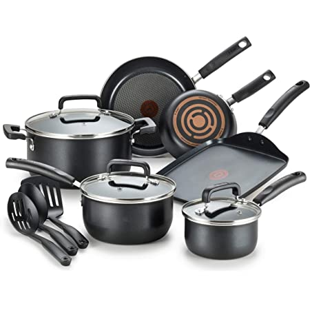 T-fal Signature Nonstick Dishwasher Safe Cookware Set, 12-Piece, Black