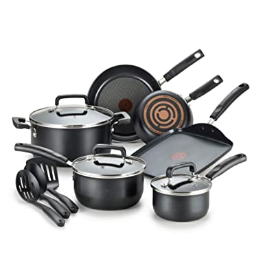 T-fal C530SC Signature Nonstick Dishwasher Safe Cookware Set, 12 Piece, Black
