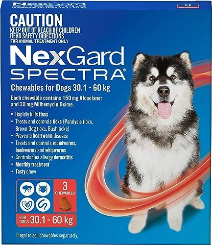 Nexgard, Flea, Tick & Worming Monthly Chew, Spectra, Dog, 30.1-60kg, 3pk