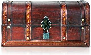 comprar comparacion Brynnberg - Caja de Madera Cofre del Tesoro con candado Pirata de Estilo Vintage, Hecha a Mano, Diseño Retro 30x20x15cm