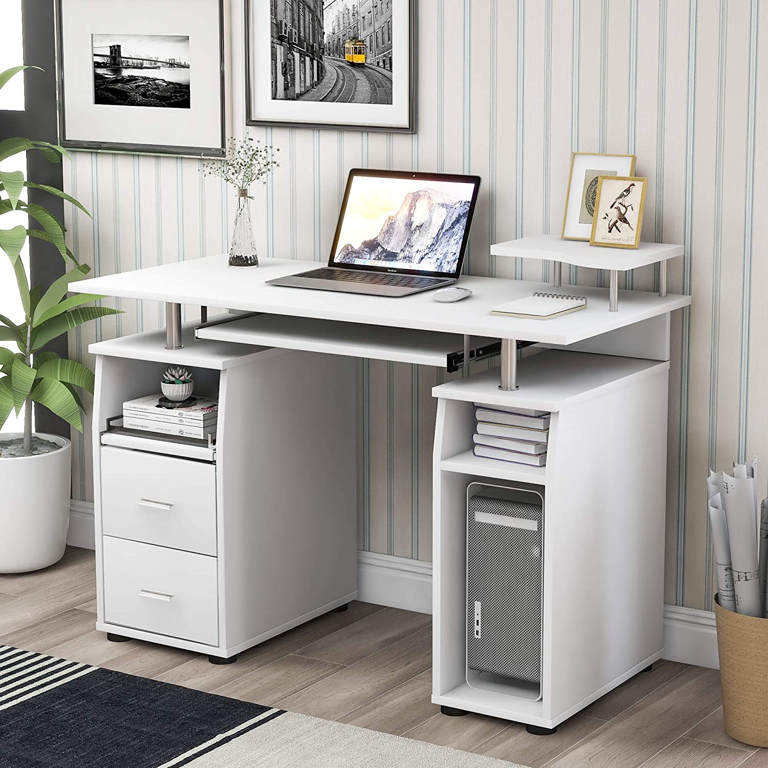 Our shop OFFers the Safety and trust best service Home Office Computer Desk with Drawers Pull-Out and Tra Keyboard