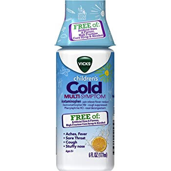 Vicks Children's Cold Multi-Symptom Relief from Cough, Sore Throat, Fever, 6 fl oz - Free of Artificial Dyes and Flavors