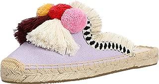 U-lite Women's Spring Summer Tassel & Fluffy Ball Canvas Mule Shoes Espadrilles Slides