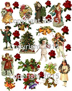 Victorian Vintage Christmas #104 Printed Collage Sheet 8.5 x 11