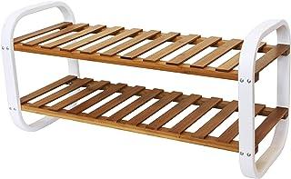 Range chaussures en bambou et métal - 2 étagères - Naturel / blanc - 66x28x33cm